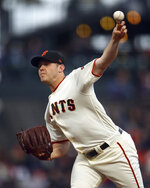 San Francisco Giants pitcher Ty Blach works against the Cincinnati Reds during the first inning of a baseball game Tuesday, May 15, 2018, in San Francisco. (AP Photo/Ben Margot)