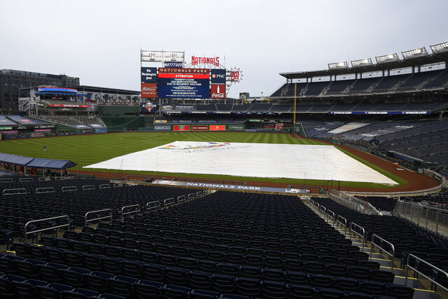 The tarp lies on the field as the scoreboard indicates that a baseball game between the Washington Nationals and the New York Mets was postponed due to inclement weather, Friday, Sept. 25, 2020, in Washington. (AP Photo/Nick Wass)
