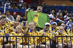 Fans of Australia cheer for their team during their second round basketball game against the Dominican Republic in the FIBA Basketball World Cup in Nanjing in eastern China's Jiangsu province, Saturday, Sept. 7, 2019. (AP Photo)