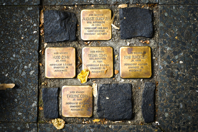 So called stumbling blocks, marking the last voluntarily chosen places of residence of the victims of the Nazis, are embedded in the pavement in Berlin, Germany, Wednesday, Sept. 9, 2020. The Department for Research and Information on Anti-Semitism Berlin, or RIAS documented 410 incidents in Berlin, more than two a day, in the first half of 2020, including physical attacks, property damage, threats, harmful behavior and anti-Semitic propaganda. (AP Photo/Markus Schreiber)