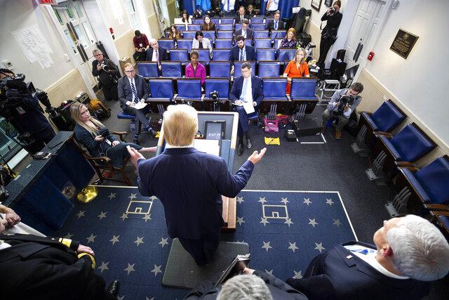 President Donald Trump speaks about the coronavirus in the James Brady Briefing Room, Monday, March 23, 2020, in Washington. (AP Photo/Alex Brandon)