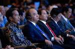 From left to right, Indonesia's President Joko Widod, Vietnam's Prime Minister Nguyen Xuan Phuc, Myanmar President Win Myint, Laos Prime Minister Thongloun Sisoulith and Cambodia's Prime Minister Hun Sen attend the opening of International Monetary Fund (IMF) World Bank annual meetings in Bali, Indonesia on Friday, Oct. 12, 2018. (AP Photo/Firdia Lisnawati)