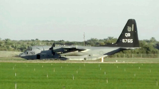 This photo from video provided by KESQ-TV shows a Lockheed Martin KC-130J tanker after it made an emergency landing after colliding with an F-35B fighter jet during a refueling operation over the Southern California desert near Thermal Tuesday, Sept. 29, 2020. The fighter pilot ejected and the other aircraft landed safely. The pilot who ejected is being treated, and nobody aboard the tanker was hurt. The jet crashed near the Salton Sea, northeast of San Diego. (KESQ-TV via AP)
