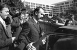 FILE - In this Oct. 15, 1974, file photo, G. Gordon Liddy wears a beard and a mustache upon his release in Washington. Liddy posted a $5,000 bond after serving 21 months in jail. Liddy, a mastermind of the Watergate burglary and a radio talk show host after emerging from prison, has died at age 90. His son, Thomas Liddy, confirmed the death Tuesday, March 30, 2021, but did not reveal the cause. (AP Photo/File)