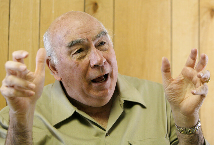 FILE - In this Wednesday, Aug. 22, 2007, file photo, Robert Murray, chief executive of Murray Energy Corp., speaks during an interview with an Associated Press reporter in his office at the Crandall Canyon Mine, in Huntington, Utah. Murray died Sunday, Oct. 25, 2020, at his home in Ohio less than a week after announcing his retirement as board chairman of a major U.S. coal operator. (AP Photo/Jae C. Hong, File)