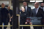 Meng Wanzhou, chief financial officer of Huawei, leaves B.C. Supreme Court in Vancouver, Thursday, January 23, 2020. Wanzhou is in court for hearings over an American request to extradite the executive of the Chinese telecom giant Huawei on fraud charges. (Jonathan Hayward/The Canadian Press via AP)