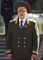 Belarusian President Alexander Lukashenko attends his inauguration ceremony at the Palace of the Independence in Minsk, Belarus, Wednesday, Sept. 23, 2020. Lukashenko of Belarus has assumed his sixth term of office in an inauguration ceremony that wasn't announced in advance. State news agency BelTA reported that Wednesday's ceremony is taking place in the capital of Minsk, with several hundred top government official present. (Andrei Stasevich/Pool Photo via AP)