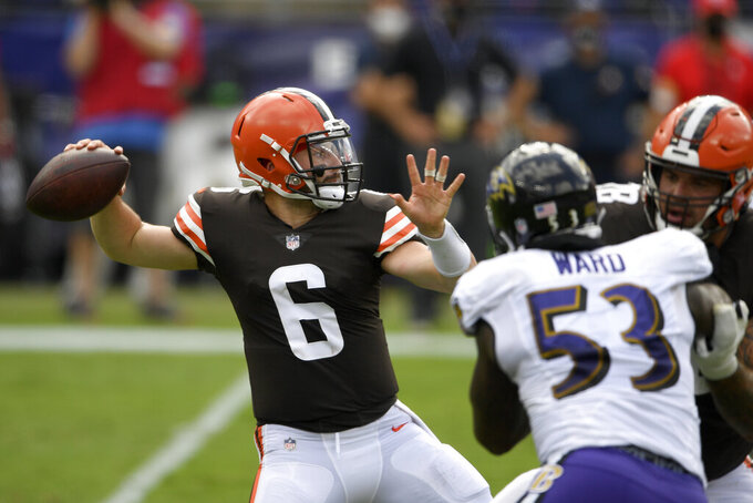 FILE - Cleveland Browns quarterback Baker Mayfield (6) looks to pass during an NFL football game against the Baltimore Ravens, Sunday, Sept. 13, 2020, in Baltimore. On Thursday night, Sept. 17, The Cincinnati Bengals visit the Browns. (AP Photo/Nick Wass)