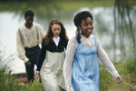 This image released by PBS shows, from left,  Jyuddah James, Rose Williams and Crystal Clarke from the series MASTERPIECE: Sandition,