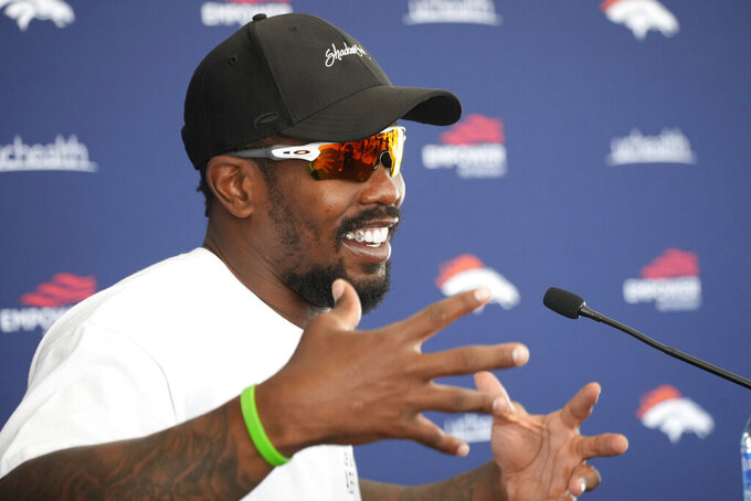 Denver Broncos linebacker Von Miller speaks during a news conference Tuesday, July 27, 2021, in Englewood, Colo., before the NFL football team's training camp. (AP Photo/David Zalubowski)