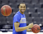 Kentucky's PJ Washington smiles during practice for the NCAA men's college basketball tournament Thursday, March 28, 2019, in Kansas City, Mo. Kentucky plays Houston in a Midwest Regional semifinal game on Friday. (AP Photo/Charlie Riedel)