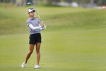 Lydia Ko, of New Zealand, reacts to her shot from the 15th fairway during the final round of the Lotte Championship golf tournament Saturday, April 17, 2021, in Kapolei, Hawaii. (AP Photo/Marco Garcia)