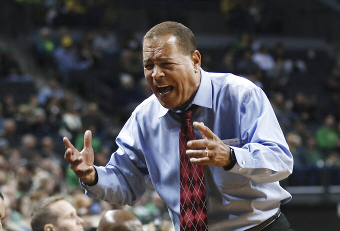 Houston coach Kelvin Sampson yells during the team's NCAA college basketball game against Oregon in Eugene, Ore., Friday, Nov. 22, 2019. (AP Photo/Chris Pietsch)