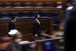Vox party leader Santiago Abascal arrives for a parliamentary session in Madrid, Spain, Wednesday Oct. 21, 2020. Spanish Prime Minister Pedro Sanchez faces a no confidence vote in Parliament put forth by the far right opposition party VOX. (AP Photo/Manu Fernandez, Pool)