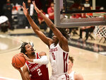 Stanford guard Bryce Wills (2) attempts a shot as Washington State center Efe Abogidi (0) defends during the first half of an NCAA college basketball game, Saturday, Feb. 20, 2021, in Pullman, Wash. (AP Photo/Pete Caster)