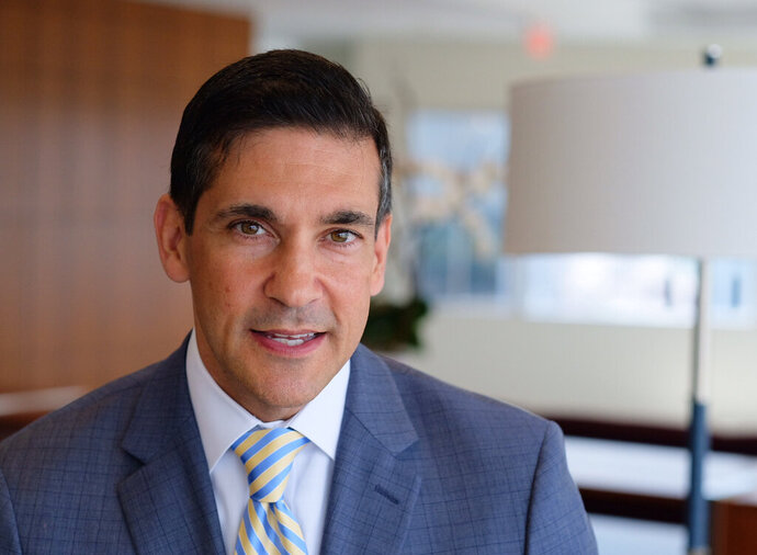 In this 2017 photo, Val DiGiorgio, chairman of the Pennsylvania Republican Party, poses in Philadelphia. DiGiorgio is stepping down Tuesday, June 25, 2019, following a published report that he had traded sexually charged text messages with a Philadelphia City Council candidate and also sent her an explicit photo of himself.  (Ed Hille/The Philadelphia Inquirer via AP)