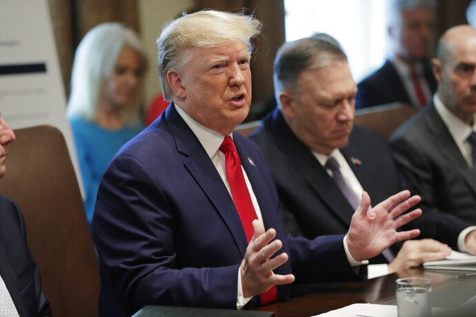 President Donald Trump speaks during a Cabinet meeting in the Cabinet Room of the White House, Monday, Oct. 21, 2019, in Washington. Secretary of State Mike Pompeo is right. (AP Photo/Pablo Martinez Monsivais)