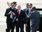 Vice President Mike Pence waves after arriving at Dallas Love Field in Dallas on Wednesday, June 13, 2018. Pence is headed to the Kay Bailey Hutchison Dallas Convention Center to speak at the annual meeting of the Southern Baptist Convention. (Vernon Bryant/The Dallas Morning News via AP)