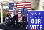 FILE - In this Oct. 2, 2018, file photo, former Rep. Gabby Giffords speaks as her husband, retired NASA astronaut and Navy Capt. Mark Kelly looks on as they kick off