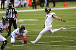 Jacksonville Jaguars kicker Aldrick Rosas (7) kicks a field goal from the hold of Logan Cooke against the Cincinnati Bengals in the second half of an NFL football game in Cincinnati, Sunday, Oct. 4, 2020. (AP Photo/Aaron Doster)