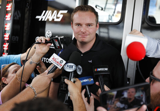 Cole Custer talks to the media before a NASCAR Xfinity Series auto race practice on Friday, Nov. 15, 2019, at Homestead-Miami Speedway in Homestead, Fla. (AP Photo/Terry Renna)