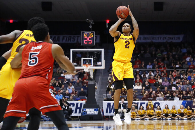 Arizona State's Rob Edwards shoots during the first half against St. John's in a First Four game of the NCAA men's college basketball tournament Wednesday, March 20, 2019, in Dayton, Ohio. (AP Photo/John Minchillo)