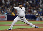 New York Yankees' CC Sabathia pitches to the Tampa Bay Rays during the fourth inning of a baseball game Tuesday, Sept. 24, 2019, in St. Petersburg, Fla. (AP Photo/Chris O'Meara)