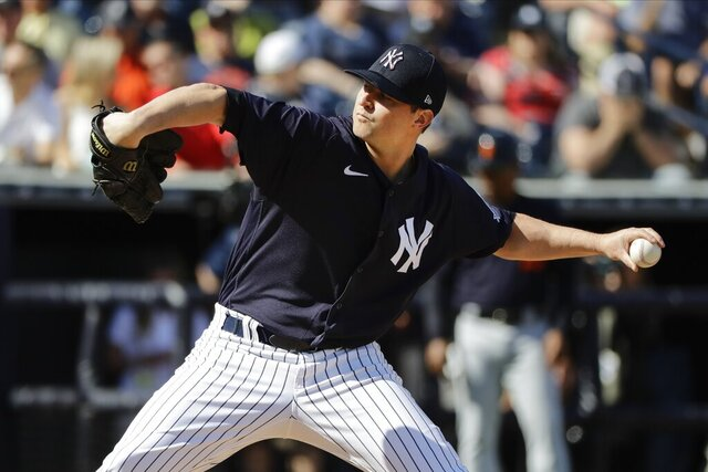 New York Yankees' Zack Britton delivers a pitch during the sixth inning of a spring training baseball game against the Detroit Tigers Saturday, Feb. 29, 2020, in Tampa, Fla. (AP Photo/Frank Franklin II)