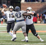 Purdue quarterback David Blough (11) throws in the second half of an NCAA college football game against Illinois, Saturday, Oct. 13, 2018, in Champaign, Ill. (AP Photo/Holly Hart)