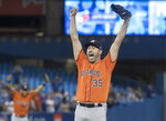 FILE - In this Sept. 1, 2019, file photo, Houston Astros starter Justin Verlander reacts after pitching a no-hitter against the Toronto Blue Jays in a baseball game in Toronto. Only 60 games into last season for the Houston Astros last summer, Justin Verlander won nine games and struck out 103 batters and went on to win his second AL Cy Young Award. (Fred Thornhill/The Canadian Press via AP, File)