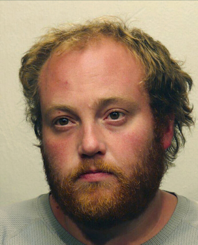 This undated booking photo from the St. Louis (Minnesota) County Sheriff's Office shows Matthew James Amiot, who was arrested Friday, Sept. 13, 2019, in connection to last week's fire at the Adas Israel Congregation, in Duluth, Minn. Authorities said the fire that destroyed the historic synagogue in northeastern Minnesota doesn't appear to have been a hate crime. Police are recommending that prosecutors charge Amiot with first-degree arson. (St. Louis (Minnesota) County Sheriff's Office via AP)