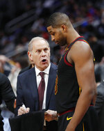 Cleveland Cavaliers coach John Beilein talks with center Tristan Thompson during the second half of the team's NBA basketball game against the Detroit Pistons, Thursday, Jan. 9, 2020, in Detroit. (AP Photo/Carlos Osorio)