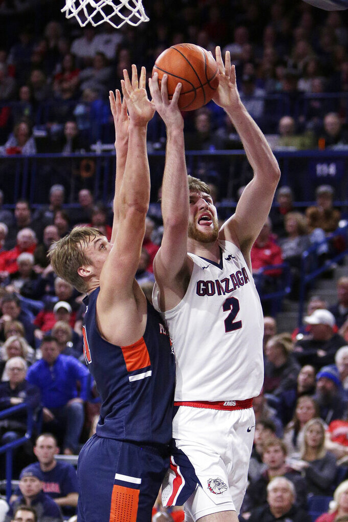 Gonzaga forward Drew Timme, right, shoots while pressured by Pepperdine forward Jan Zidek during the first half of an NCAA college basketball game in Spokane, Wash., Saturday, Jan. 4, 2020. (AP Photo/Young Kwak)