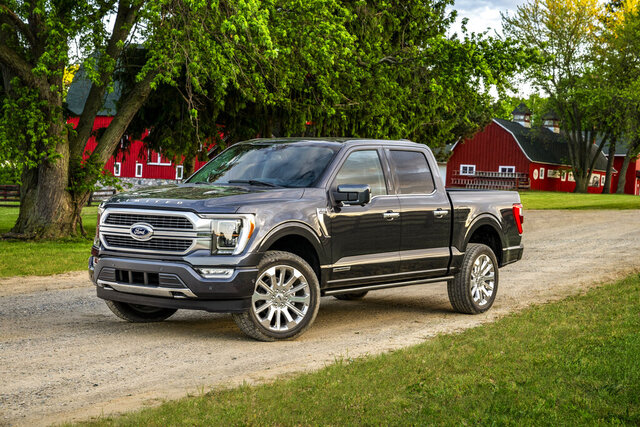 This photo provided by Ford shows the redesigned 2021 Ford F-150. The all-new F-150 offers a full hybrid powertrain and several cab and bed configurations, and it promises the most power of any full-size pickup truck. (Courtesy of Ford Motor Co. via AP)