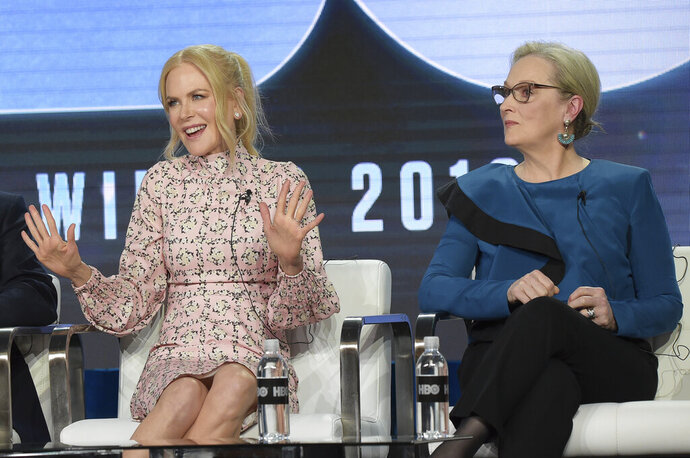 Nicole Kidman, left, and Meryl Streep participate in the