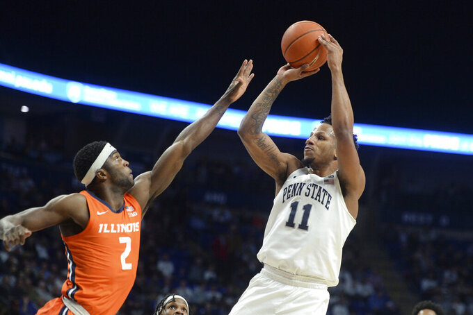 Penn State's Lamar Stevens (11) shoots over Illinois' Kipper Nichols (2) during the first half  of an NCAA college basketball game, Tuesday, Feb. 18, 2020, in State College, Pa. (AP Photo/Gary M. Baranec)