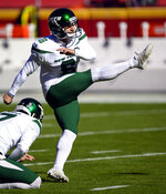 FILE - In this Nov. 1, 2020, file photo, New York Jets kicker Sergio Castillo (6) warms up before an NFL football game against the Kansas City Chiefs in Kansas City, Mo. Castillo had the same dream a few times every year since he was in the sixth grade. The Jets kicker would be on the field at a stadium when he'd look into the stands and see his mother and future girlfriend in the stands cheering him on. (AP Photo/Reed Hoffmann, File)