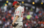 Philadelphia Phillies pitcher Aaron Nola reacts on the mound during the third inning of the team's baseball game against the San Francisco Giants in San Francisco, Thursday, Aug. 8, 2019. (AP Photo/Jeff Chiu)