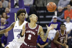 Montana's Kendal Manuel (2) eyes the ball in front of Washington's Jaden McDaniels (4) during the second half of an NCAA college basketball game Friday, Nov. 22, 2019, in Seattle. (AP Photo/Elaine Thompson)