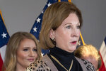 Sidney Powell, a lawyer for President Donald Trump, speaks during a news conference at the Republican National Committee headquarters, Thursday Nov. 19, 2020, in Washington. (AP Photo/Jacquelyn Martin)