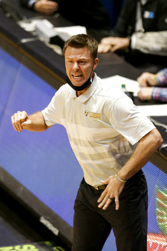 Valparaiso coach Matt Lottich reacts during the first half of the team's NCAA college basketball game against Purdue on Friday, Dec. 4, 2020, in West Lafayette, Ind. (Nikos Frazier/Journal & Courier via AP)
