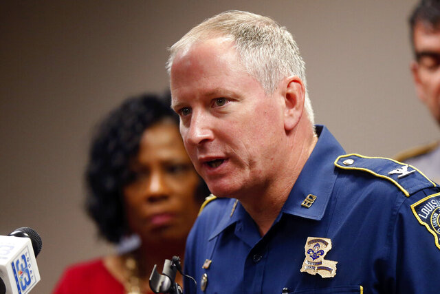 FILE - In this Sept. 19, 2017, file photo, Louisiana State Police Supt. Kevin Reeves speaks at a news conference in Baton Rouge, La. Reeves, the head of the Louisiana State Police, will retire from the job at the end of the month, amid ongoing questions about the death of a Black man in the law enforcement agency's custody and the secrecy around the encounter that is now subject to a federal civil rights investigation.  (AP Photo/Gerald Herbert, File)