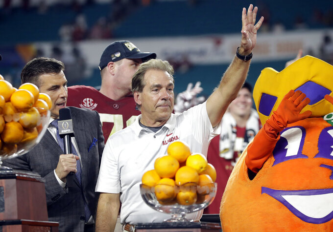Alabama head coach Nick Saban waves after winning the Orange Bowl NCAA college football game against Oklahoma , Sunday, Dec. 30, 2018, in Miami Gardens, Fla. Alabama defeated Oklahoma 45-34. (AP Photo/Lynne Sladky)