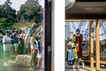 A crowd is reflected in the window of a ticket booth next to a cutout, right, of Pilgrims as they wait for the Mayflower II, a replica of the original Mayflower ship that brought the Pilgrims to America 400 year ago, to sail into Plymouth, Mass., Monday, Aug. 10, 2020. The 102 passengers aboard the Mayflower, equal numbers