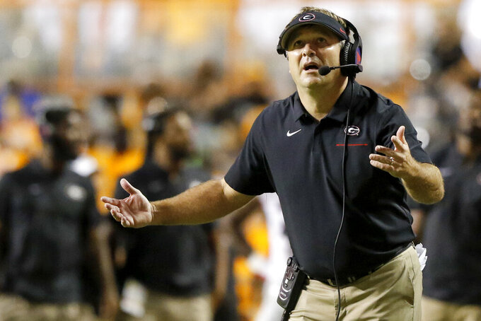 Georgia head coach Kirby Smart reacts to a call during their game again Tennessee at Neyland Stadium on Saturday, Oct. 5, 2019 in Knoxville, Tenn.(C.B. Schmelter/Chattanooga Times Free Press via AP)