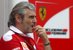 """FILE - In this June 19, 2016 file photo, Ferrari team principal Maurizio Arrivabene grimaces prior to the start of the Formula One Grand Prix of Europe at the Baku circuit, in Baku, Azerbaijan. Ferrari has replaced Maurizio Arrivabene with Mattia Binotto as team principal following another failed Formula One title chase. Binotto had been working as Ferrari's chief technical officer, having been with the team for nearly 25 years. Ferrari says in a statement, """"After four years of untiring commitment and dedication, Maurizio Arrivabene is leaving the team. The decision was taken together with the company's top management after lengthy discussions related to Maurizio's long term personal interests as well as those of the team itself."""" (AP Photo/Luca Bruno, file)"""