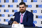 Northwestern offensive lineman Sam Gerak talks to reporters during an NCAA college football news conference at the Big Ten Conference media days, Thursday, July 22, 2021, at Lucas Oil Stadium in Indianapolis. (AP Photo/Doug McSchooler)