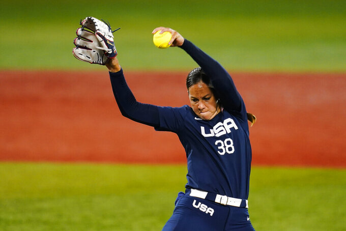FILE - In this July 27, 2021, file photo, United States' Cat Osterman pitches during the first inning of a softball game against Japan at the 2020 Summer Olympics in Yokohama, Japan. Osterman is closing out a decorated career during which she won an Olympic gold medal and two silvers and last year became the first Athletes Unlimited individual softball champion. (AP Photo/Matt Slocum, File)