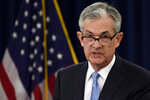Federal Reserve Chair Jerome Powell speaks during a news conference in Washington, Wednesday, March 20, 2019.  The Federal Reserve left its key interest rate unchanged Wednesday and projected no rate hikes in 2019, dramatically underscoring its plan to be