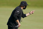 Carolina Panthers head coach Matt Rhule gestures during an NFL football camp practice Monday, Aug. 17, 2020, in Charlotte, N.C. (AP Photo/Chris Carlson)